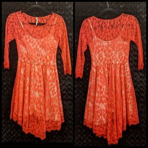 Free People Red Lace Pleated Skirt Dress